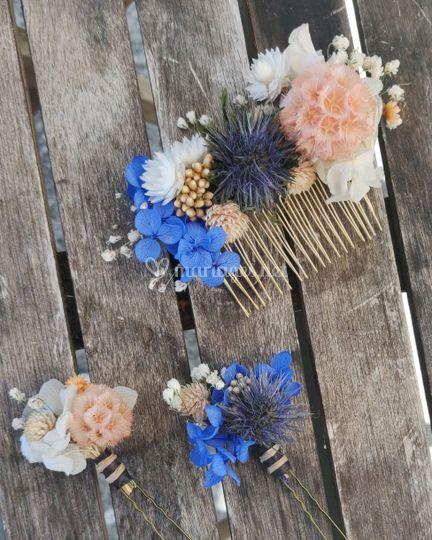 Coiffe et piques florales