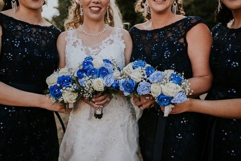 Mutli bouquets mariée et dem.