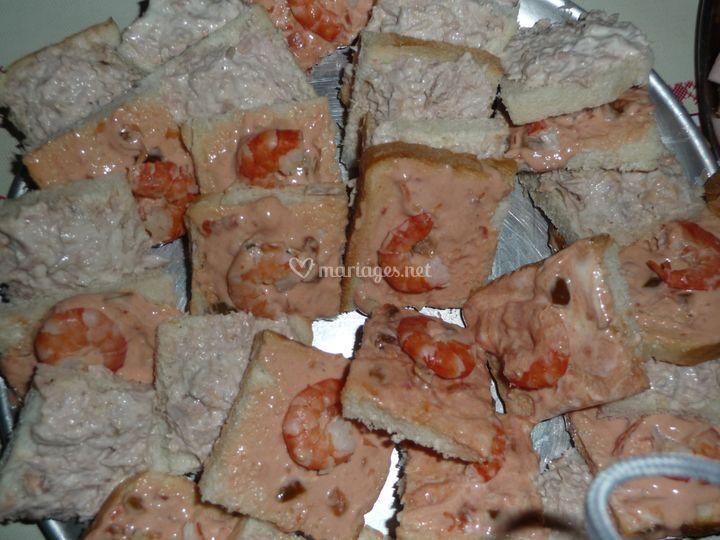 Canapé de crevettes a l'indienne