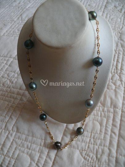 Collier chaînette et perles