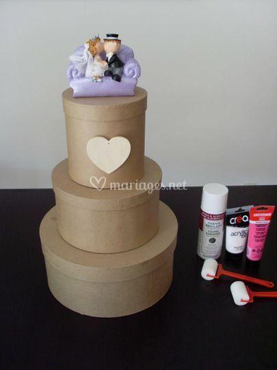 Diy pour r aliser une urne en forme de wedding cake for Decoration urne de mariage