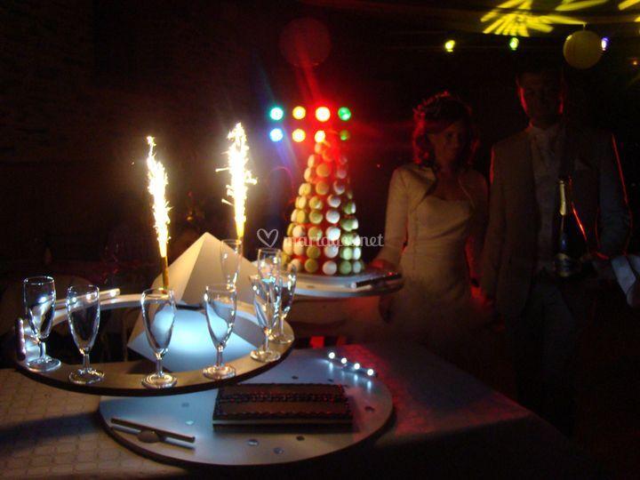 Notre présentation de dessert et champagne