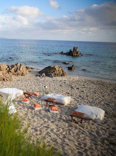Salon cosy sur la plage