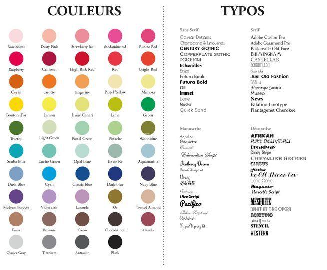 Palettes couleurs et typo