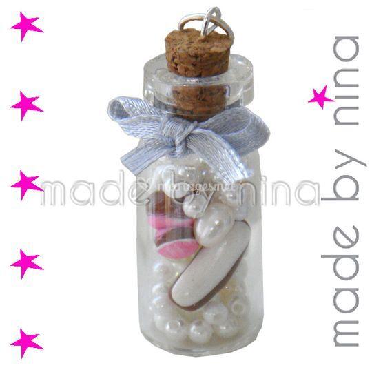 Pendentif fiole, à remplir avec les éléments de votre choix : sujets fimo, paillettes, perles, ...