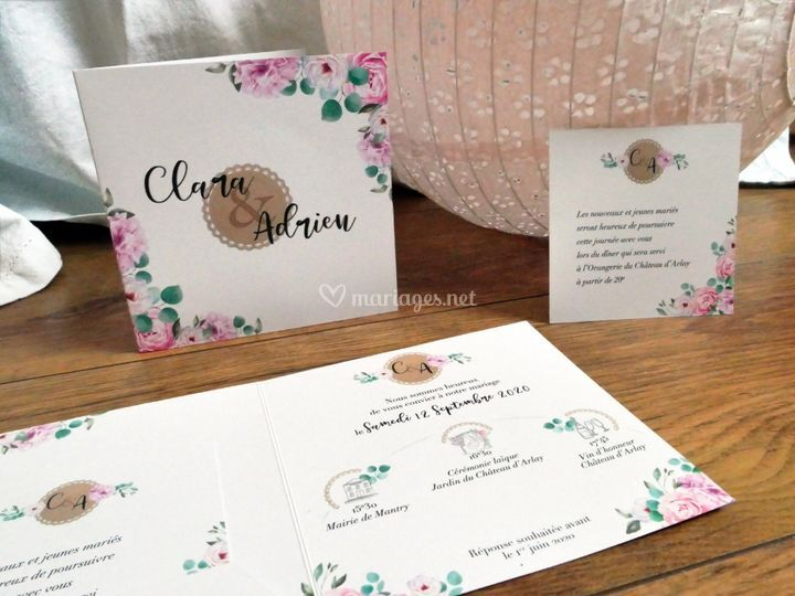 Faire-part Pivoine rose
