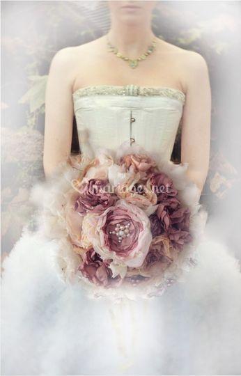 Créations fleur mariee tissu