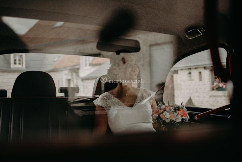 La mariée à bord du Black Cab