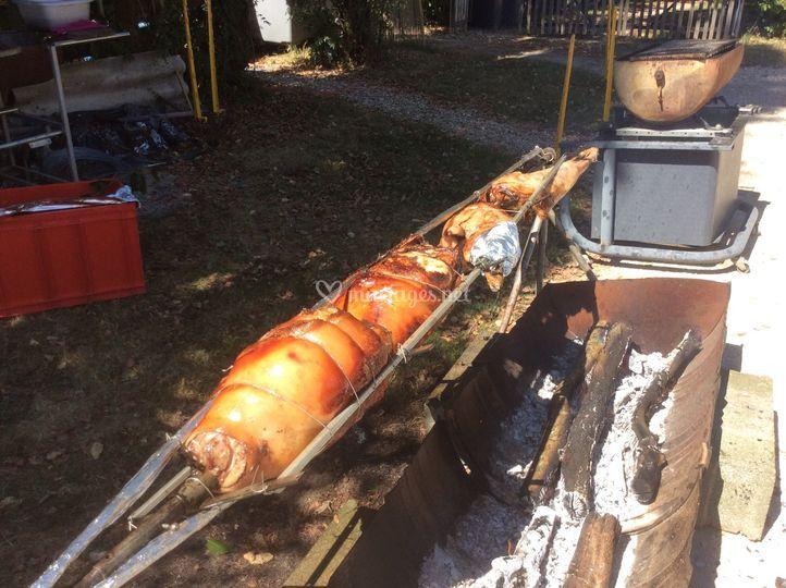Porc et agneau à la broche