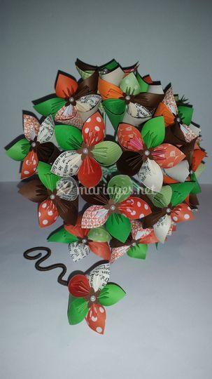 Bouquet orange, vert, chocolat