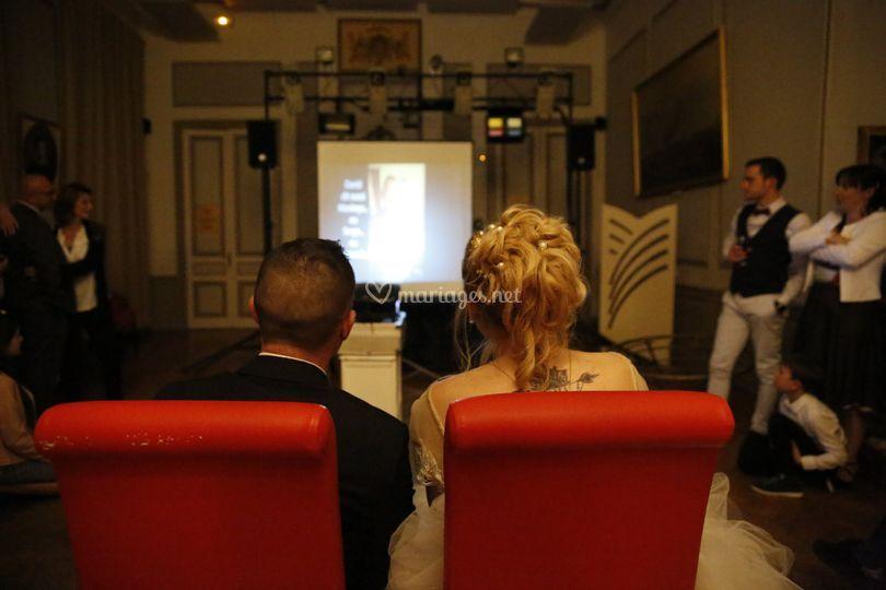 Projection vidéo mariés