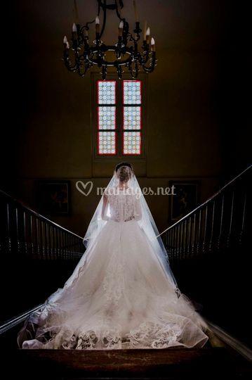 Robe de mariée escaliers
