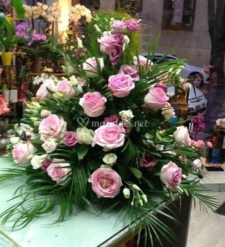 Décoration de roses roses