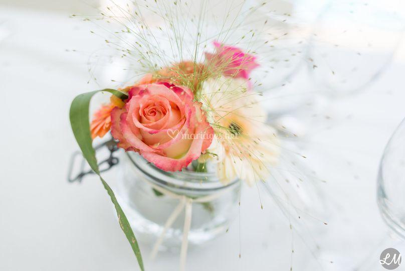 Pot fleurs table mariage
