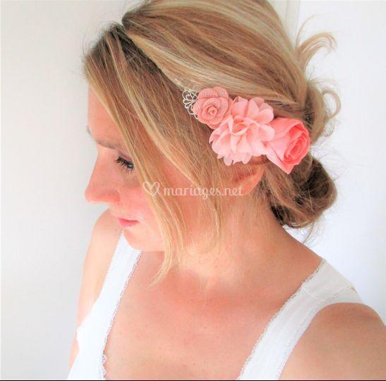 Headband à fleurs rose, pêche