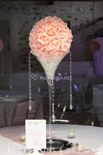 Boule de roses rose clair