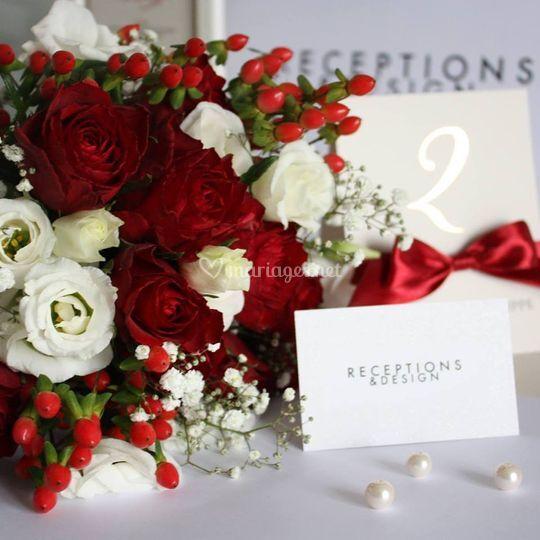 Composition florale et numéro de table