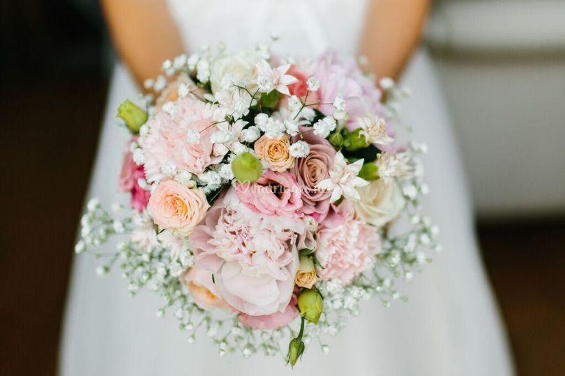 Bouquet de mariée camaieu rose