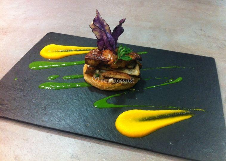 Tarte fine cèpes et foie gras