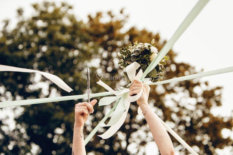 Bouquet de mariée rubans