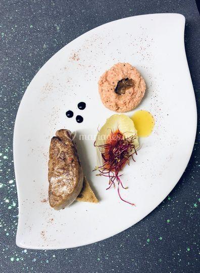 Foie gras poêlé tartare homard