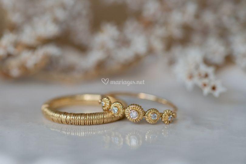 Bagues or750 et diamants