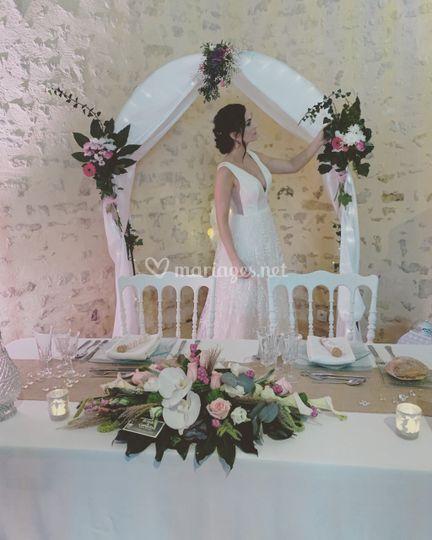 Mariée sous l'arche
