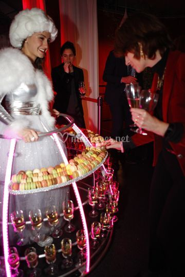 Robe champagne + macarons