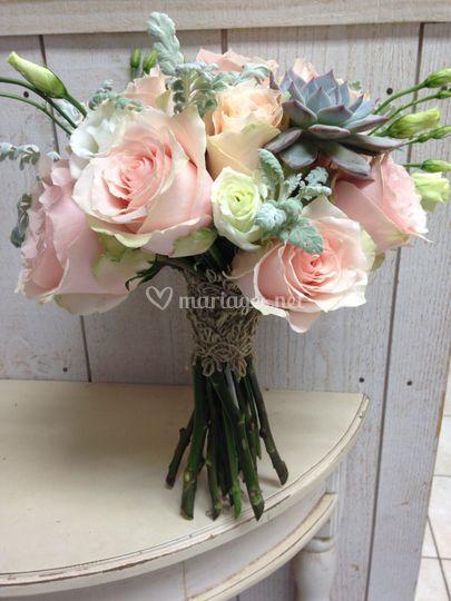 Bouquet echeveria et rose