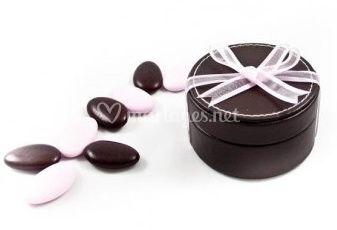Boîte ronde simili cuir