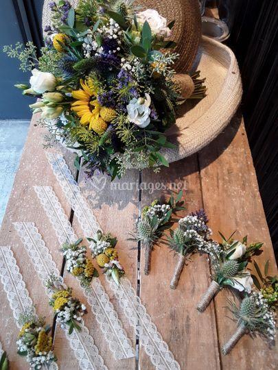 Bouquet mariée, bracelets, boutonnières