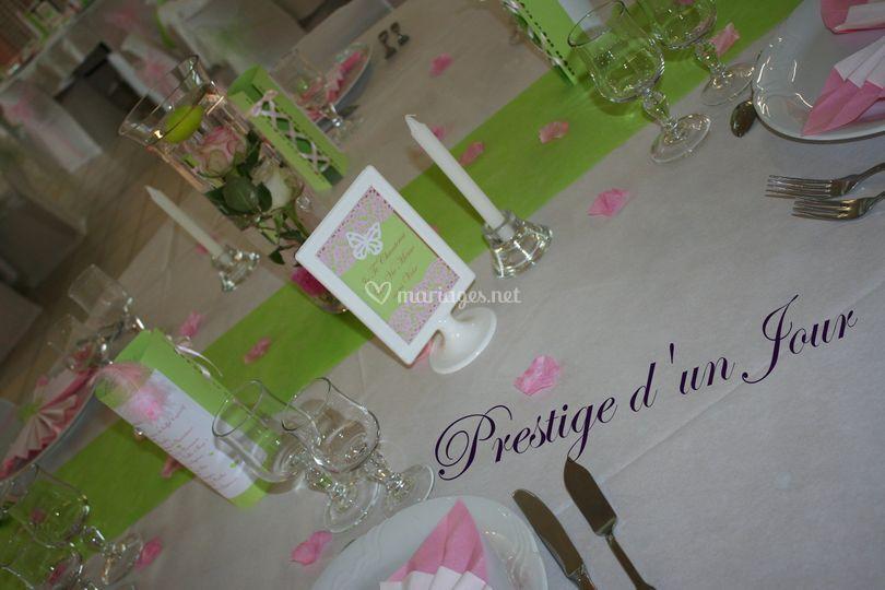 Déco rose vert blanc