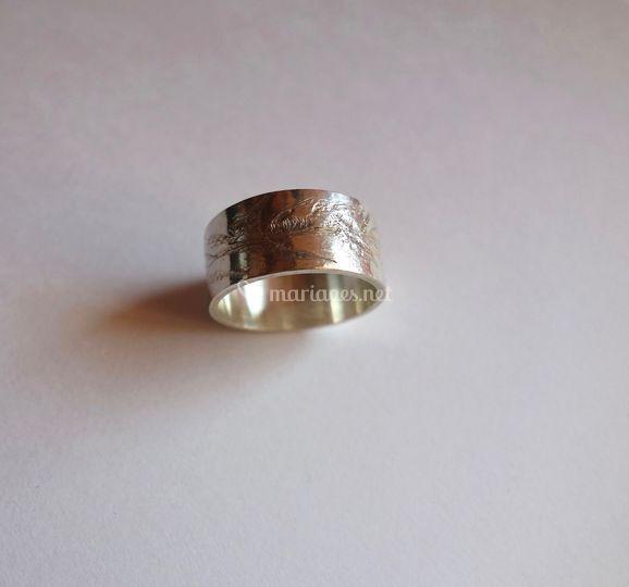 Bague anneau argent gravé