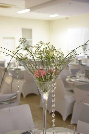 Vase martini fleurs naturelles