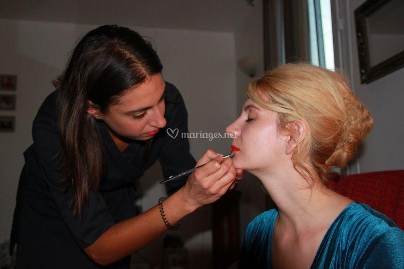 Backsatge maquillage mariée