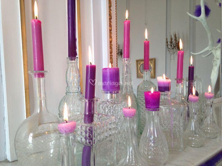 Bougies sur cheminée