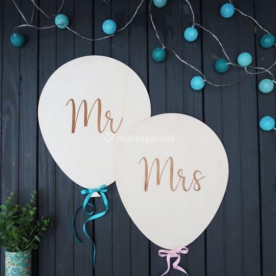 Déco ballon bois Mr & Mrs
