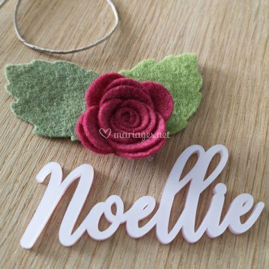 Maque place calligraphie Rose