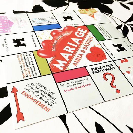 Faire-part Monopoly visuel