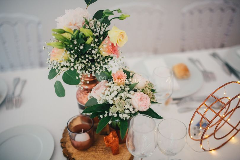 Duo de vases rose poudré