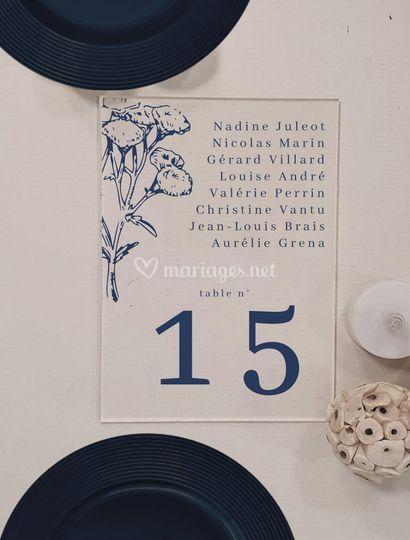 Plan de table mariage bleu