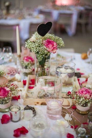 Décoration table fleurie
