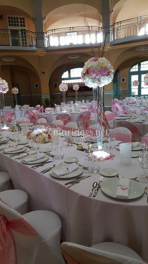 Centre de table boule de rose