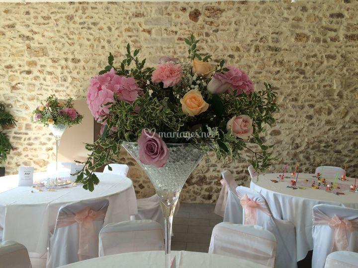 Hortensias et roses