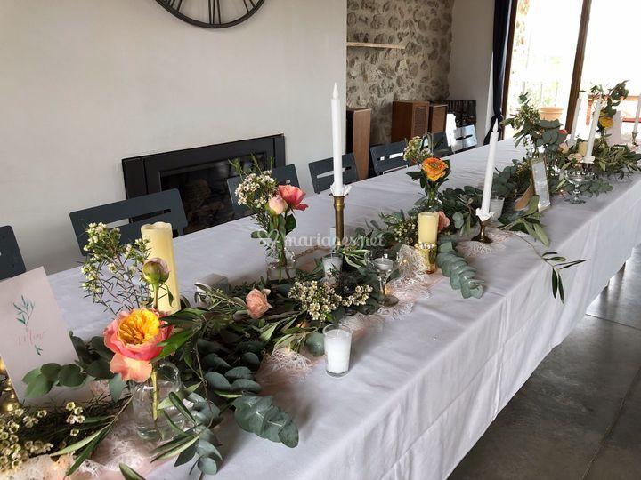 Table d'honneur champêtre