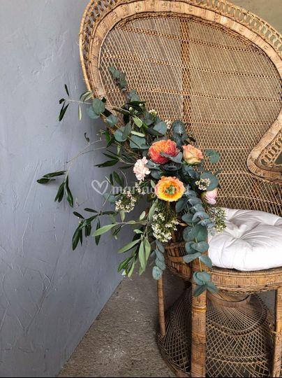 Composition florale accoudoir