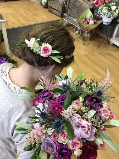 Barrette et bouquet