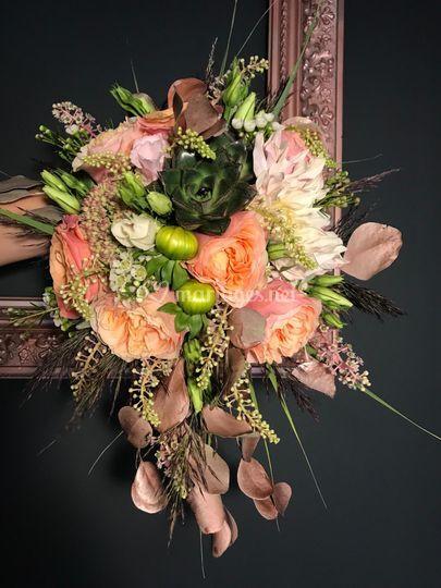 Bouquet touche or rose