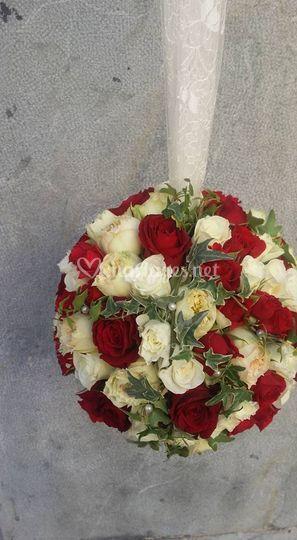 Bouquet boule suspendu mariée