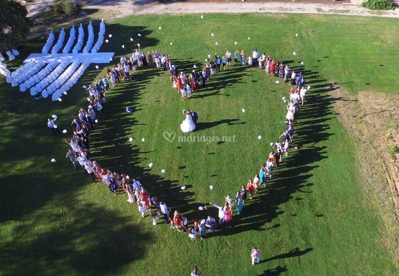 Photo vu drone cœur